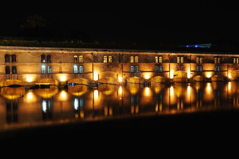 Vauban Dam in Strasbourg. Night view of Vauban Dam in Strasbourg, France done with long exposure stock photo