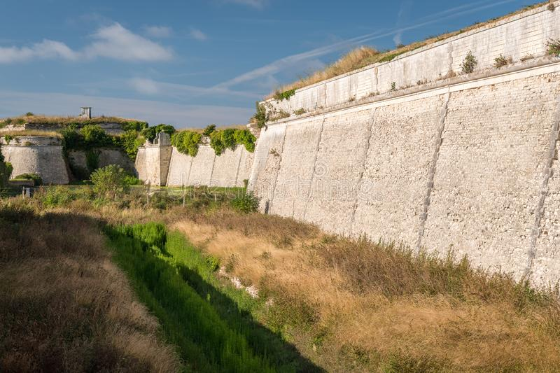 The vauban fortifications of Saint Martin de Re on a sunny day. With a blue sky royalty free stock photos