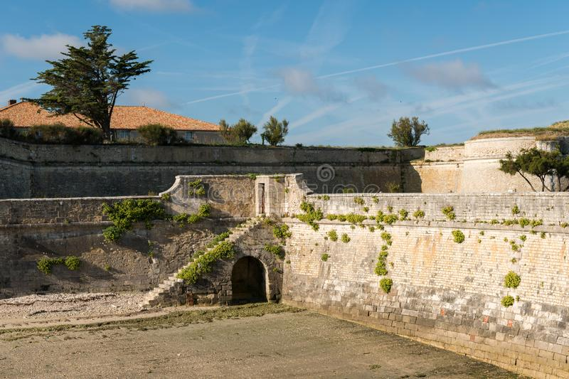 The vauban fortifications of Saint Martin de Re on a sunny day. The vauban fortifications of Saint Martin de Re France on a sunny day with a blue sky royalty free stock images