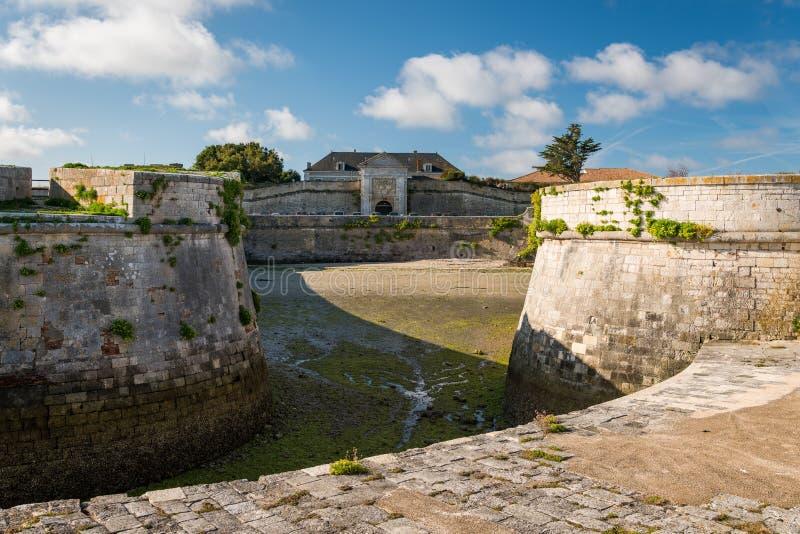 The vauban fortifications of Saint Martin de Re on a sunny day. The vauban fortifications of Saint Martin de Re France on a sunny day with a blue sky stock photography