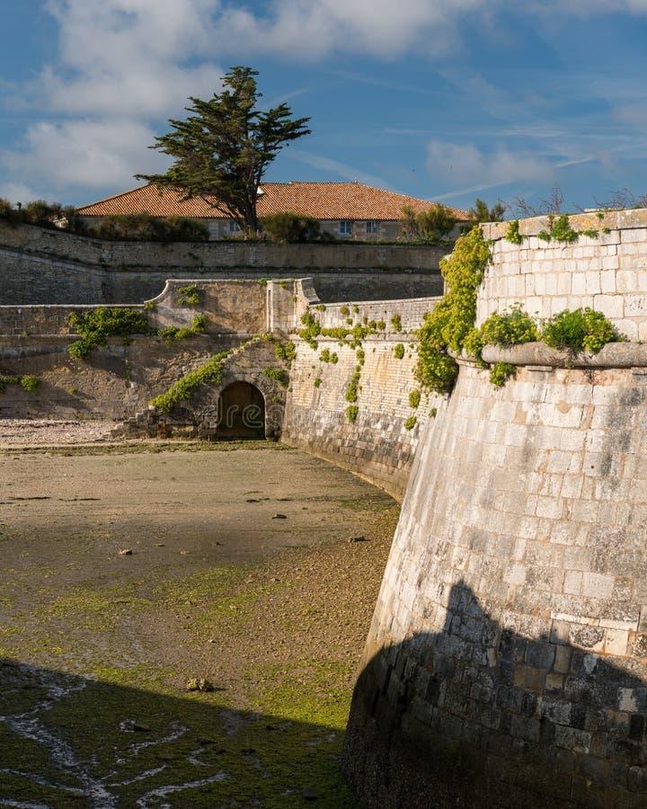 The vauban fortifications of Saint Martin de Re on a sunny day. The vauban fortifications of Saint Martin de Re France on a sunny day with a blue sky royalty free stock photo