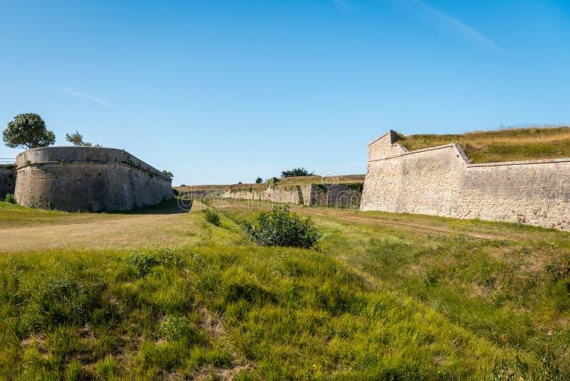 The vauban fortifications of Saint Martin de Re on a sunny day. The vauban fortifications of Saint Martin de Re France on a sunny day with a blue sky royalty free stock photos