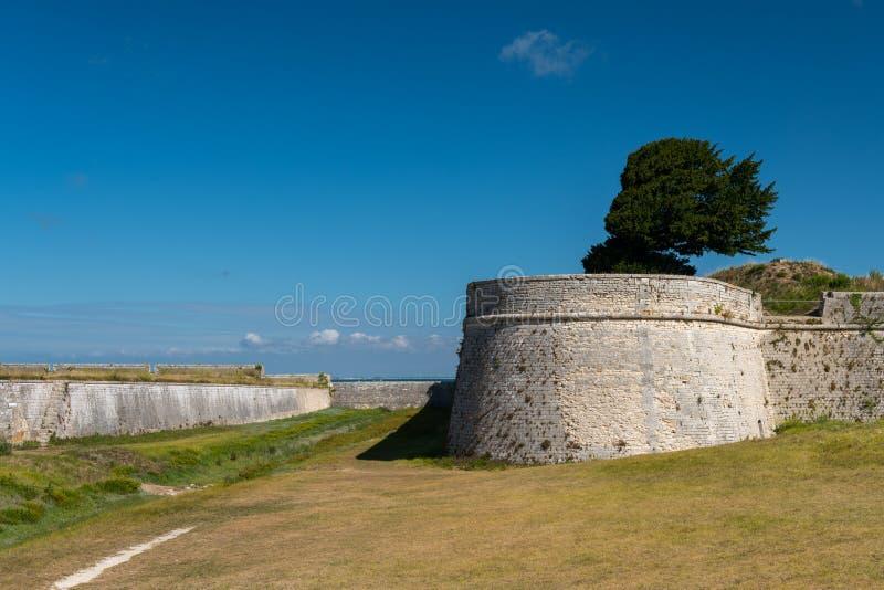 The vauban fortifications of Saint Martin de Re on a sunny day. The vauban fortifications of Saint Martin de Re France on a sunny day with a blue sky stock images