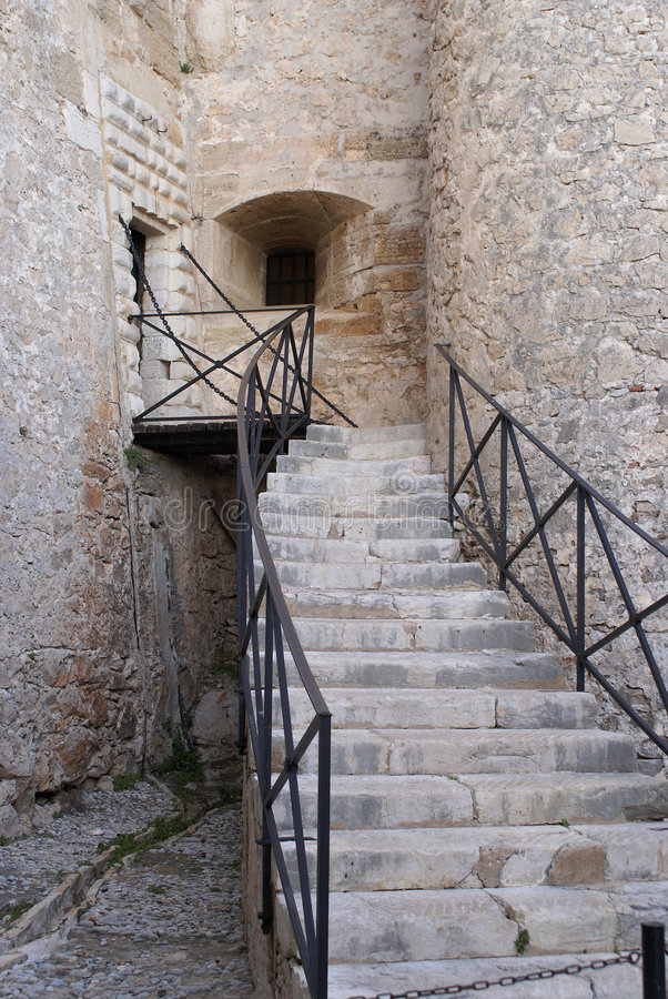 Vauban Fortress. Stone stairs in a Vauban Fortress. (City of Antibes in French Riviera royalty free stock image