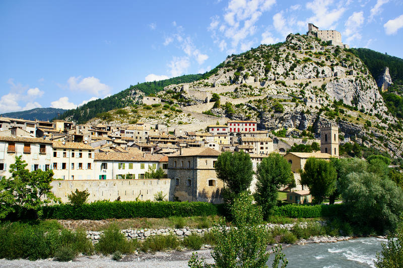 Vauban town. Old town Vauban with fortress in the top of mountain, view from outside stock image