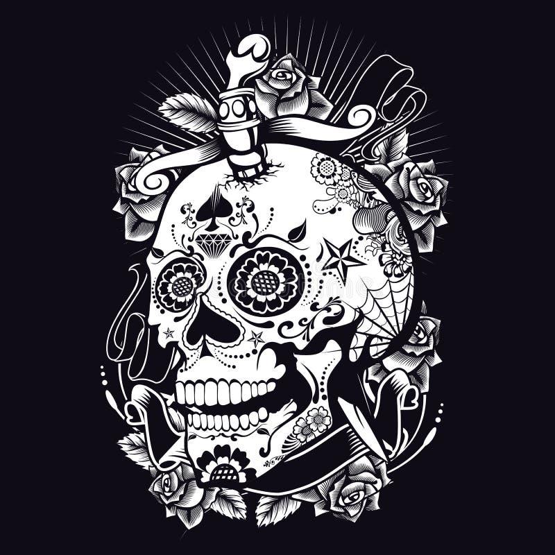 Vaudou Sugar Skull illustration de vecteur