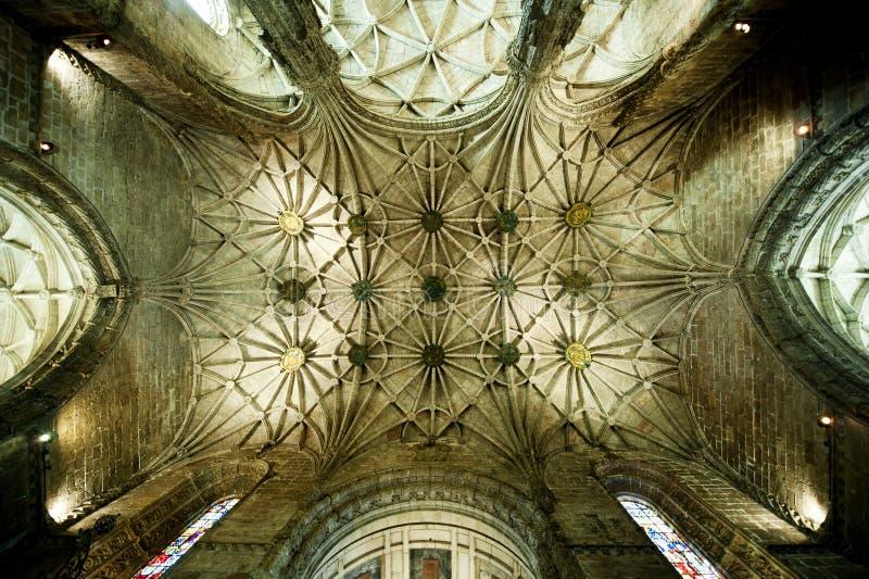 Vault of the church in Jeronimo's Monastery, Lisbon royalty free stock photo