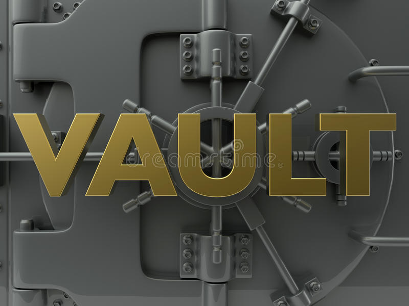 Vault concept. 3D rendered illustration for the bank vault concept. The composition makes use of a bank vault 3D model and the word VAULT textured in gold placed royalty free illustration
