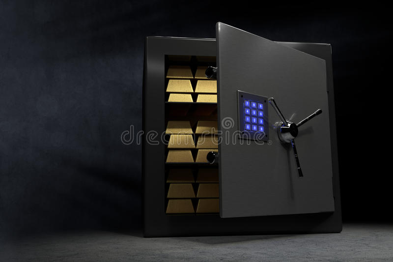 Vault with a couple of golden bars and a bluish glowing combination lock at the opened door. A vault with a couple of golden bars and a bluish glowing stock photography