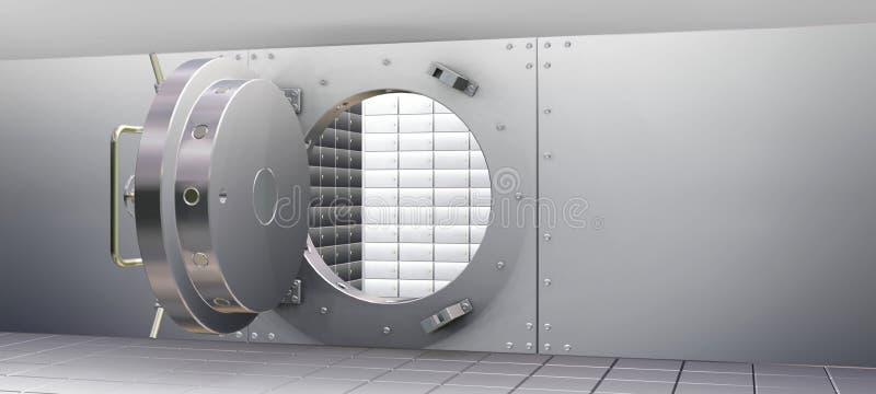 Vault de banco e caixas de depósito da segurança ilustração stock