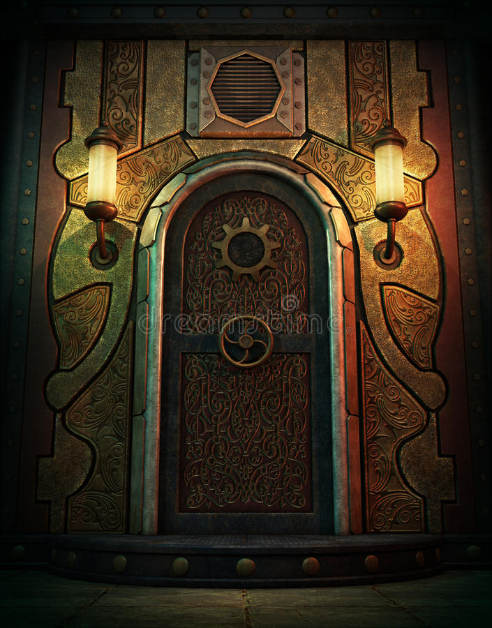 The Vault Door, 3d CG. 3d computer graphics of a vault door in Steampunk style royalty free illustration