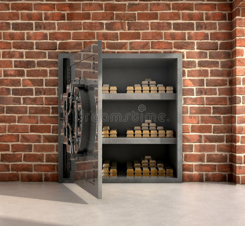Vault with gold bars. Opened vault with gold bars inside 3d illustration stock illustration