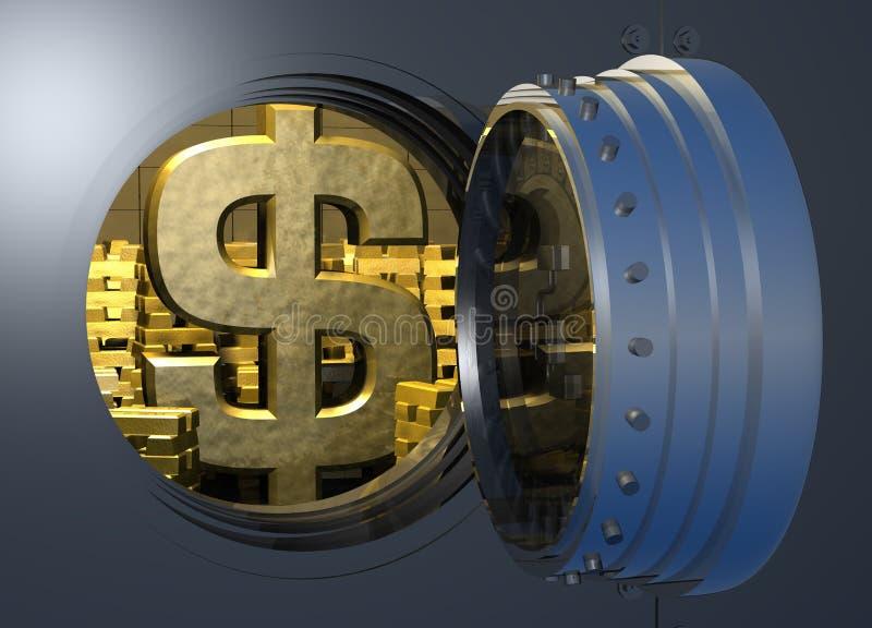 Vault_gold_dollar illustration libre de droits