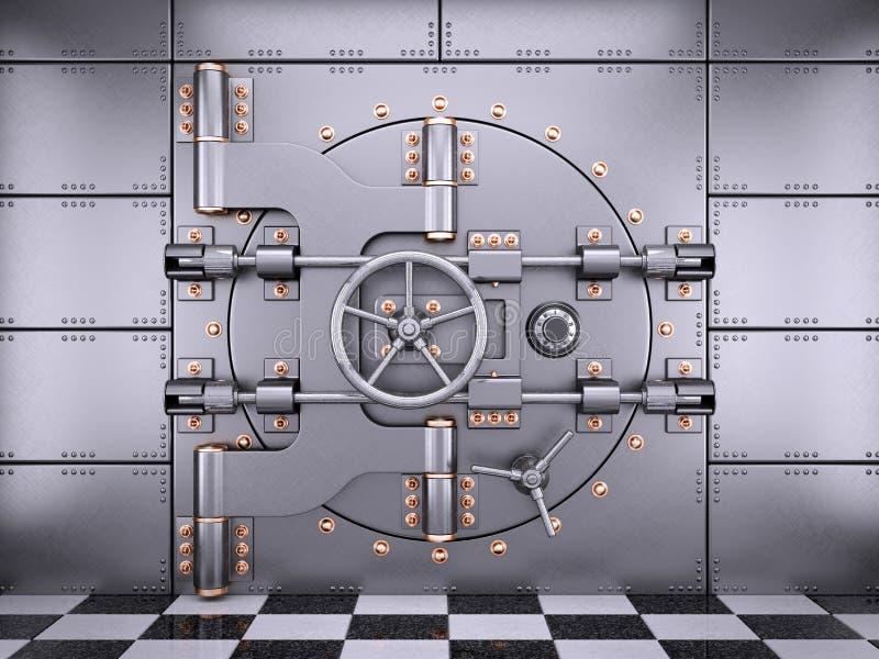 Vault safe bank door in banking room vector illustration