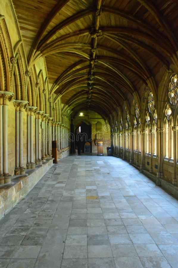 Lincoln Cathedral cloisters. Vaulted ceiling the Cloisters at the anglican Lincoln Cathedral, lincolnshire stock photography
