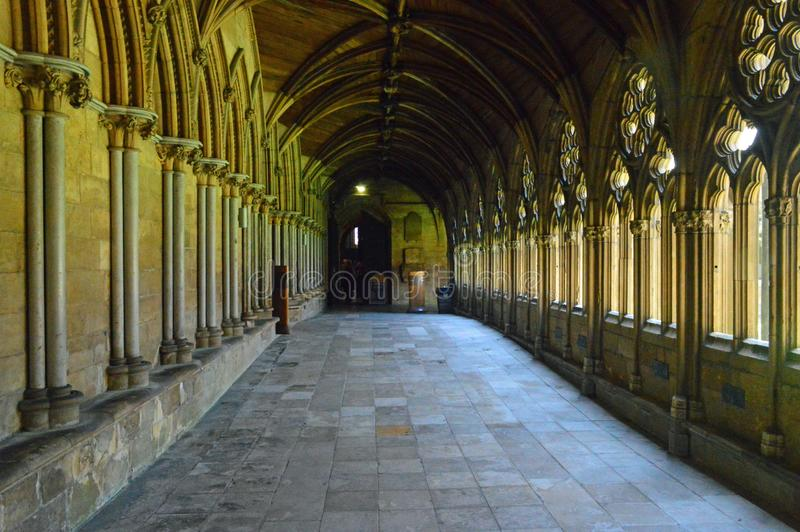 Lincoln Cathedral cloisters. Vaulted ceiling the Cloisters at the anglican Lincoln Cathedral, lincolnshire royalty free stock images