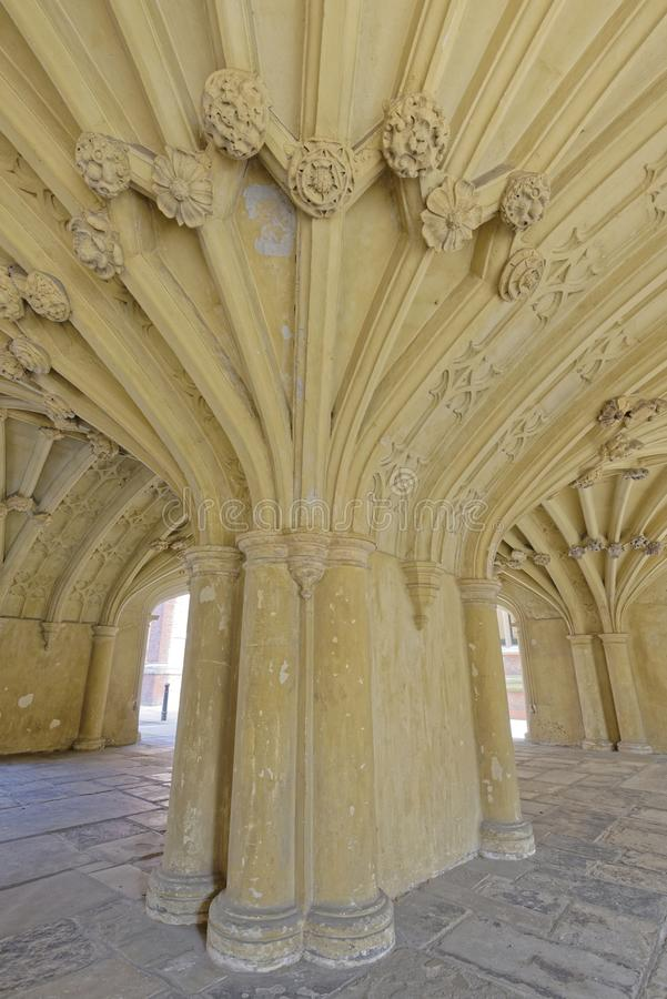 Vaulted ceiling. Image taken of the chapel undercroft in Lincoln's Inn, london, england stock photos