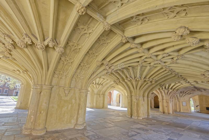 Vaulted ceiling. Image taken of the chapel undercroft in Lincoln's Inn, london, england royalty free stock photos