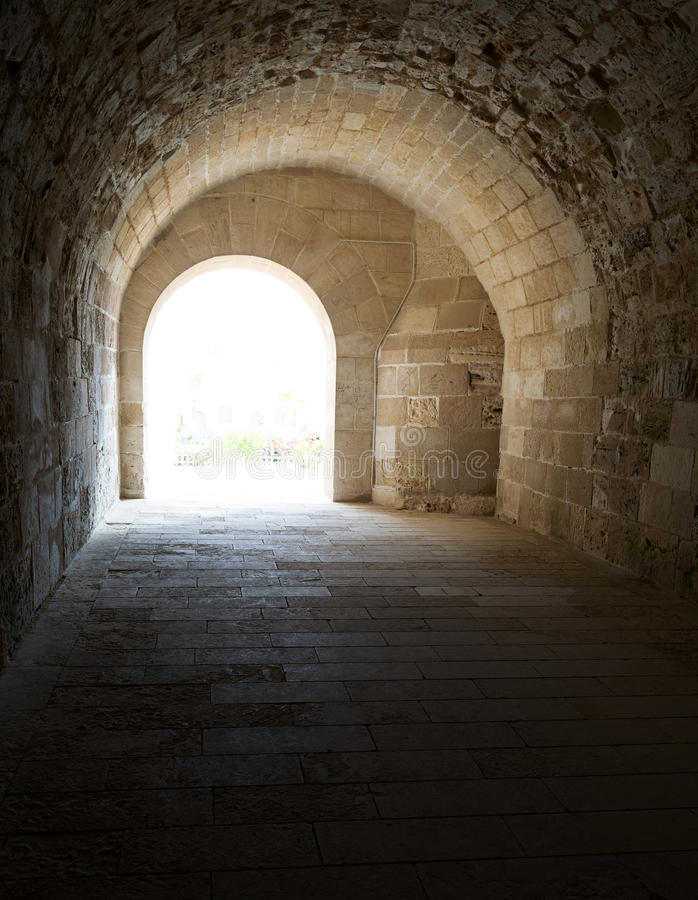 Vaulted Corridor leading to the courtyard of Alexandria Castle stock image