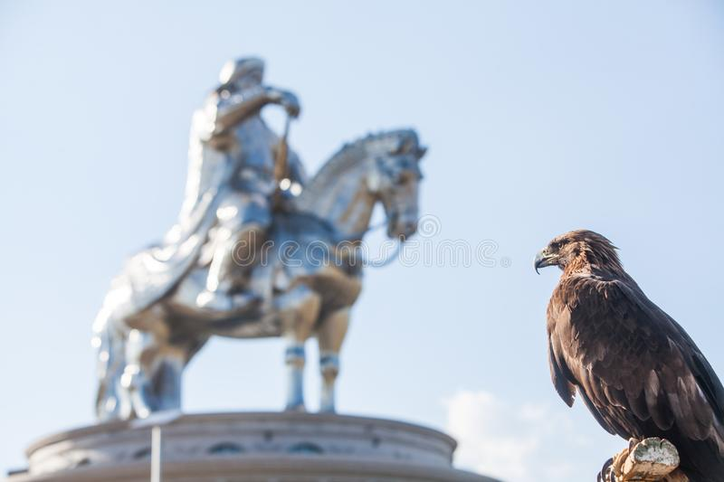 Vautour et Genghis Khan Monument photo stock