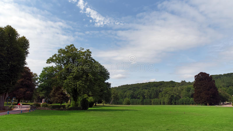 Vaux de Cernay park. Vaux de Cernay abbey in the chevreuse valley stock photo