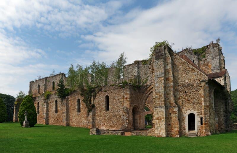 Vaux de Cernay pond. Vaux de Cernay abbey in the chevreuse valley stock images