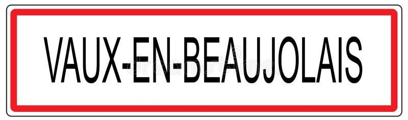 Vaux en博若莱红葡萄酒城市交通标志例证在法国 向量例证