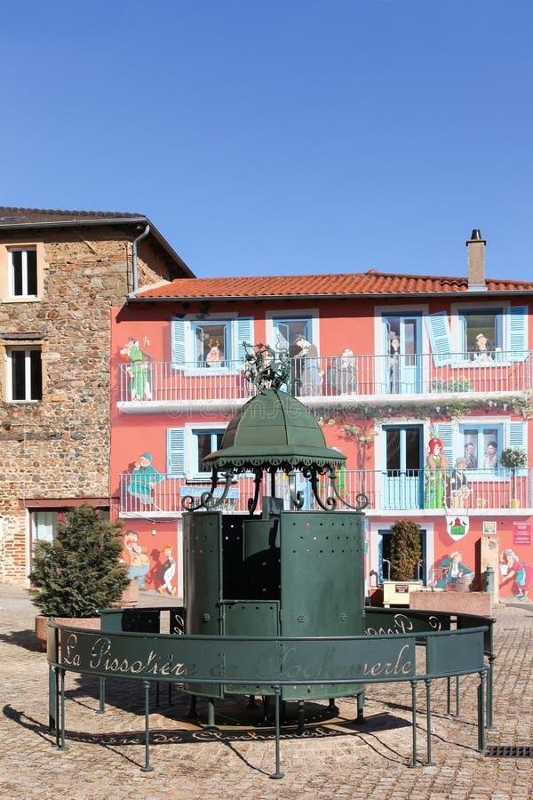 Vaux en博若莱红葡萄酒村庄在法国 图库摄影