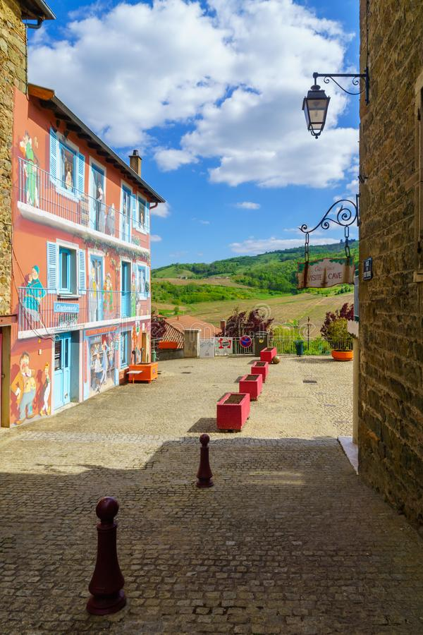 Vaux-en-Beaujolais. in Beaujolais, Rhone department. Vaux-en-Beaujolais, France - May 06, 2019: View of the village Vaux-en-Beaujolais. in Beaujolais, Rhone royalty free stock photography