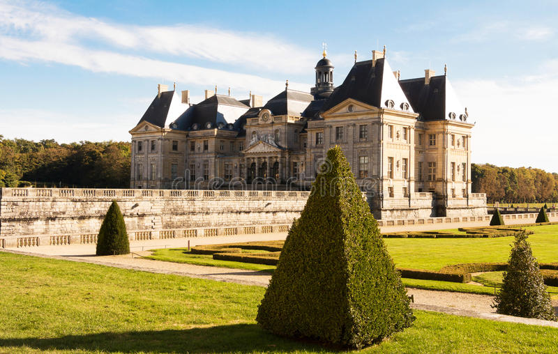 The Vaux -le -Vicompte castle. The Vaux-le-Vicomte is a Baroque French castle constructed from 1658 to 1661 for Nicolas Fouquet, the superintendant of Finances royalty free stock photography