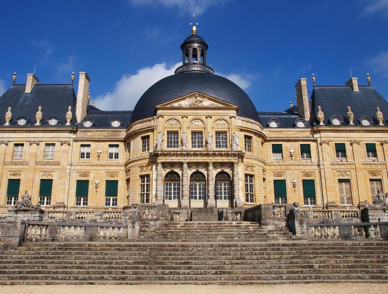 Vaux Le Vicomte,法国,在巴黎附近的城堡 免版税库存图片
