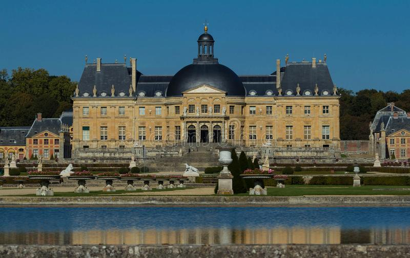 The Vaux-le-Vicomte castle, near Paris, France. The Vaux-le-Vicomte is a Baroque French castle constructed from 1658 to 1661 for Nicolas Fouquet, the royalty free stock photo