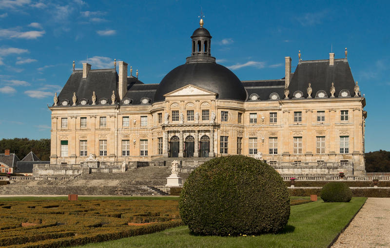 The Vaux-le-Vicomte castle, France. The Vaux-le-Vicomte is a Baroque French castle constructed from 1658 to 1661 for Nicolas Fouquet, the superintendant of royalty free stock photos