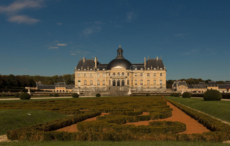 The Vaux-le-Vicomte castle, France. The Vaux-le-Vicomte is a Baroque French castle constructed from 1658 to 1661 for Nicolas Fouquet, the superintendant of royalty free stock photography