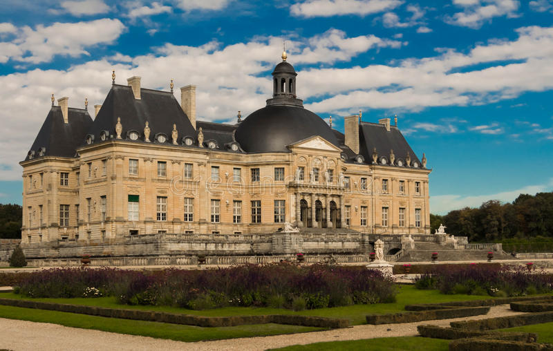 The Vaux-le-Vicomte castle, France. The Vaux-le-Vicomte is a Baroque French castle constructed from 1658 to 1661 for Nicolas Fouquet, the superintendant of stock photography
