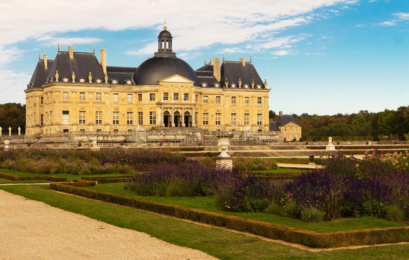 The Vaux-le-Vicomte castle, France. The Vaux-le-Vicomte is a Baroque French castle constructed from 1658 to 1661 for Nicolas Fouquet, the superintendant of stock photo