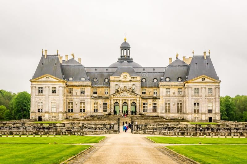 Vaux-le-vicomte castle in France. And its front facade stock photo