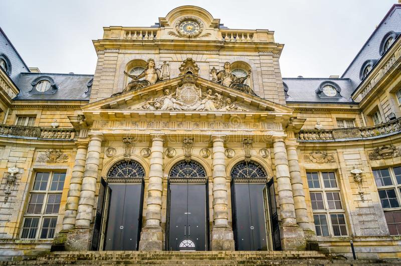Vaux-le-vicomte castle in France. And it`s main entrance royalty free stock photos
