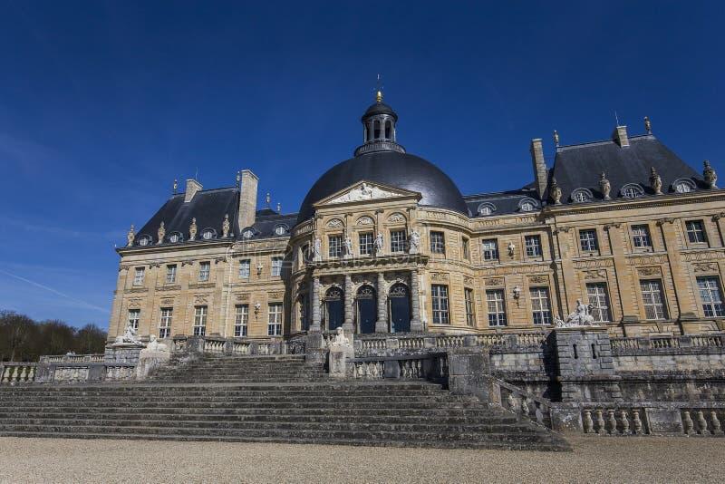 Vaux le vicomte castle, Maincy, France. MAINCY, FRANCE, MARCH 30, 2017 : exteriors and architectural details of Vaux le vicomte castle, march 30, 2017, in Maincy stock image
