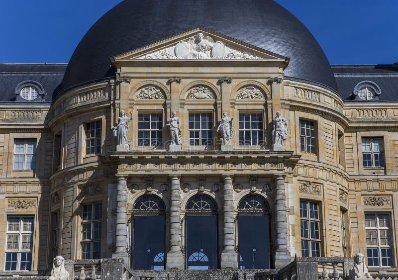 Vaux le vicomte castle, Maincy, France. MAINCY, FRANCE, MARCH 30, 2017 : exteriors and architectural details of Vaux le vicomte castle, march 30, 2017, in Maincy royalty free stock photo