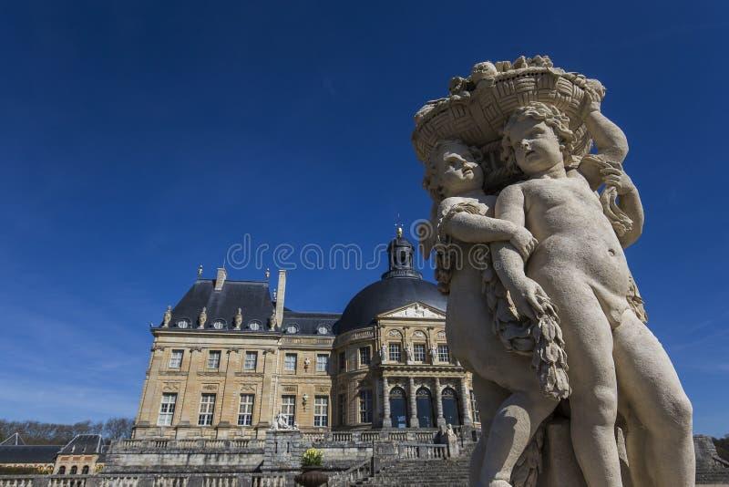 Vaux le vicomte castle, Maincy, France. MAINCY, FRANCE, MARCH 30, 2017 : exteriors and architectural details of Vaux le vicomte castle, march 30, 2017, in Maincy stock photo