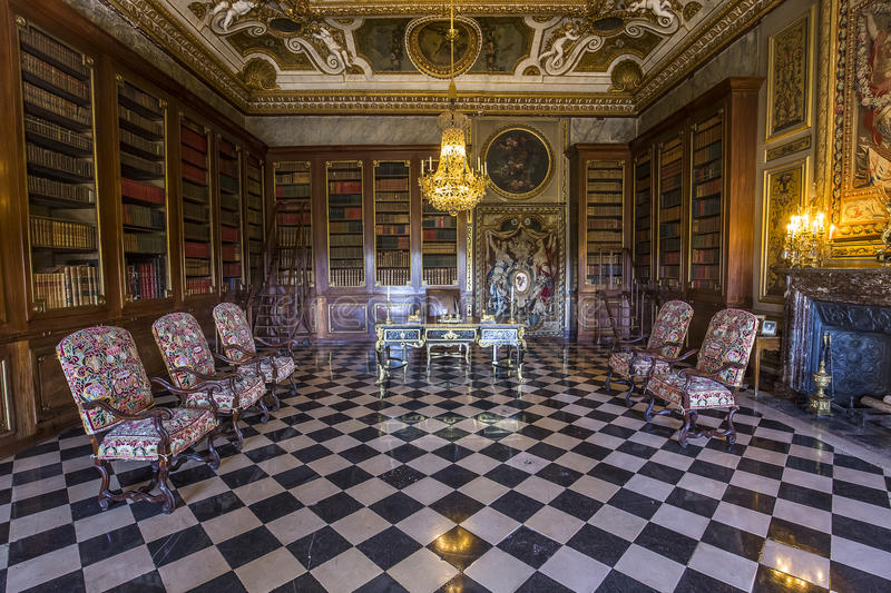 Vaux le vicomte castle, Maincy, France. A view in MAINCY, FRANCE, MARCH 30, 2017 : interiors and details of Vaux le vicomte castle, march 30, 2017, in Maincy royalty free stock image