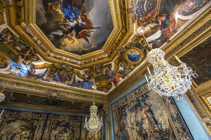 Vaux le vicomte castle, Maincy, France. A view in MAINCY, FRANCE, MARCH 30, 2017 : interiors and details of Vaux le vicomte castle, march 30, 2017, in Maincy royalty free stock photos