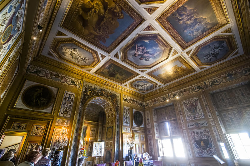 Vaux le vicomte castle, Maincy, France. A view in MAINCY, FRANCE, MARCH 30, 2017 : interiors and details of Vaux le vicomte castle, march 30, 2017, in Maincy stock photo