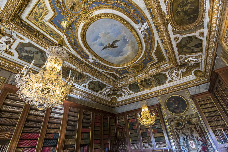 Vaux le vicomte castle, Maincy, France. A view in MAINCY, FRANCE, MARCH 30, 2017 : interiors and details of Vaux le vicomte castle, march 30, 2017, in Maincy royalty free stock photography