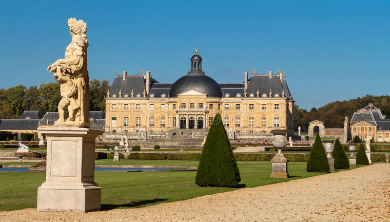 The Vaux-le-Vicomte castle, near Paris, France. The Vaux-le-Vicomte is a Baroque French castle constructed from 1658 to 1661 for Nicolas Fouquet, the stock photography