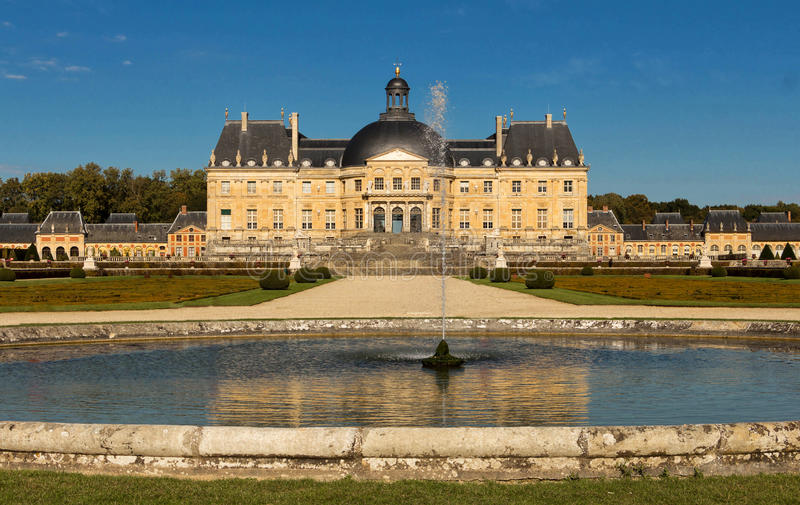 The Vaux-le-Vicomte castle, near Paris, France. The Vaux-le-Vicomte is a Baroque French castle constructed from 1658 to 1661 for Nicolas Fouquet, the royalty free stock image