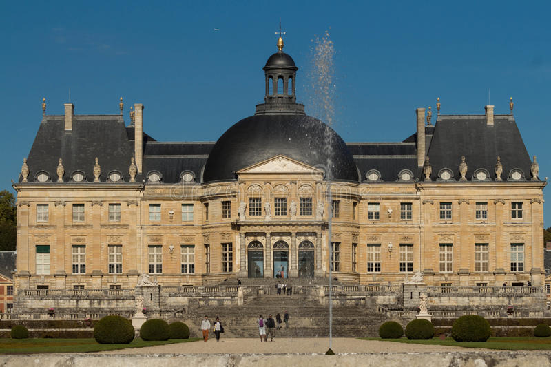 The Vaux-le-Vicomte castle, near Paris, France. The Vaux-le-Vicomte is a Baroque French castle constructed from 1658 to 1661 for Nicolas Fouquet, the royalty free stock photos
