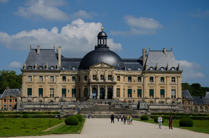 Vaux-le-Vicomte. The Château de Vaux-le-Vicomte is a baroque French château located in Maincy, near Melun, 55 kilometres (34 mi) southeast of Paris in the royalty free stock photography