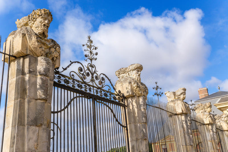 Vaux-le-Vicomte, France. Sculptural shapes on the fence of the estate. Vaux-le-Vicomte - classic French manor-palace of of the XVII century, situated 55 km south royalty free stock photo